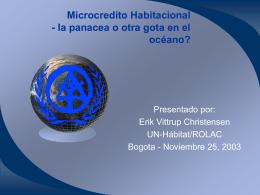 Microcredito Habitacional - panacea o otra gota en el …