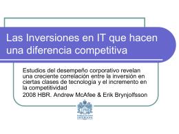 Las Inversiones en IT que hacen una diferencia competitiva