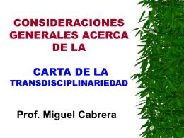 CONSIDERACIONES GENERALES ACERCA DE LA CARTA …