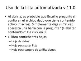 Uso de la lista automatizada v 11.0