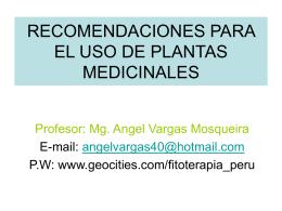 RECOMENDACIONES PARA EL USO DE PLANTAS …