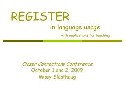 REGISTER in language usage with thoughts on …