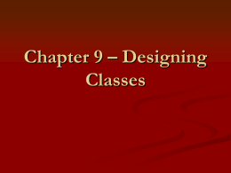 Chapter 3 – Implementing Classes