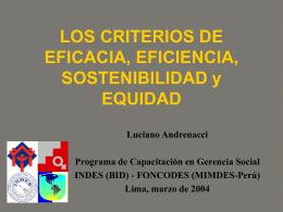 LOS CRITERIOS DE EFICACIA, EFICIENCIA, EQUIDAD Y