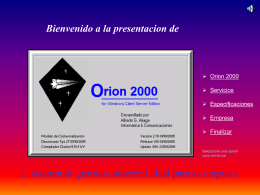 Orion 2000 for Windows Client Server Edition