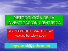 METODOLOGIA DE LA INVESTIGACION CIENTIFICA