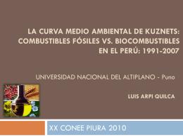 La Curva Medio Ambiental de Kuznets: Combustibles …