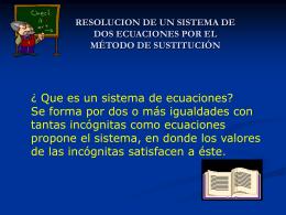 RESOLUCION DE UN SISTEMA DE DOS ECUACIONES POR …