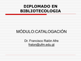 DIPLOMADO EN BIBLIOTECOLOGIA