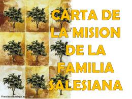 CARTA DE LA MISION DE LA FAMILIA SALESIANA