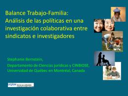 Balance Trabajo-Familia: Analisis de las politicas en una