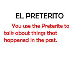 EL PRETERITO