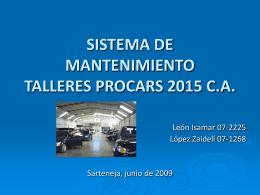 SISTEMA DE MANTENIMIENTO TALLERES PROCARS 2015 …