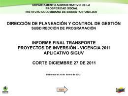Informe Transporte Vigencia 2011
