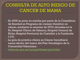 CONSULTA DE ALTO RIESGO DE CANCER DE MAMA
