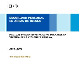 SEGURIDAD PERSONAL EN AREAS DE ALTO RIESGO