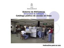Sistema de Bibliotecas Universidad de Antioquia
