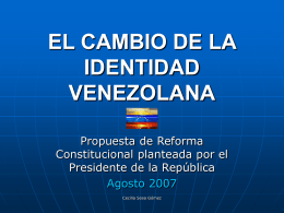 EL CAMBIO DE IDENTIDAD VENEZOLANA