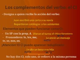 Los complementos del verbo: el CI