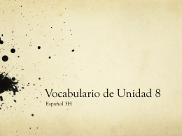 Vocabulario de Unidad 8 - Somerville Public School