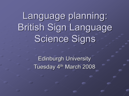 Language planning - University of Edinburgh