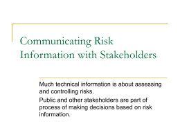 Communicating Risk Information to Stakeholders