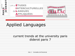 Applied Languages at Paris Diderot