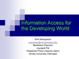 Information Access for the Developing World