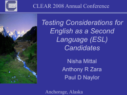 Testing Considerations for English as a Second Language
