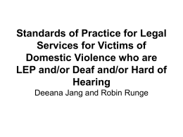 Standards of Practice for Legal Services for Victims of