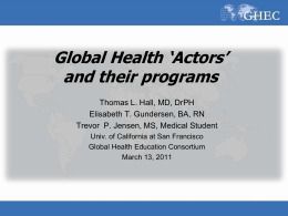Global Health 'Actors' and their programs