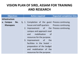 VISION PLAN OF SIRD, ASSAM FOR TRAINING AND …