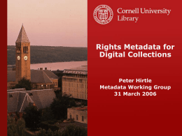 Rights Metadata for Digital Collections
