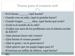 Temas para el examen oral