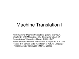 Machine Translation - University of Manchester