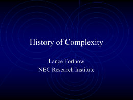 History of Complexity - Department of Computer Science