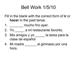 Bell Work 1/5/10