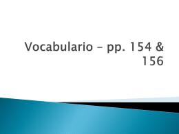 Vocabulario – pp. 154 & 156