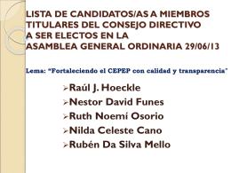 Lista de candidatos/as a miembros titulares del Consejo