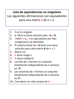 Lista de equivalencias no singulares Las siguientes