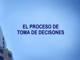 PROCESO PARA LA TOMA DE DECISONES