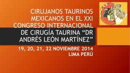 CIRUJANOS TAURINOS MEXICANOS EN EL XXI