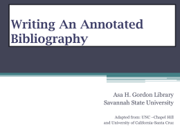 Writing an Annotated Bibliography Citation