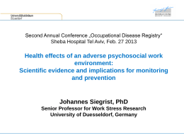 Health effects of an adverse psychosocial work …