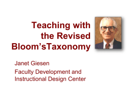 Teaching with the Revised Bloom's Taxonomy