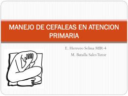 MANEJO DE CEFALEAS EN ATENCION PRIMARIA