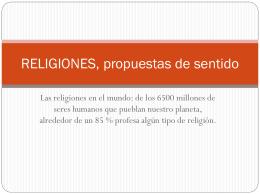 RELIGIONES, propuestas de sentido