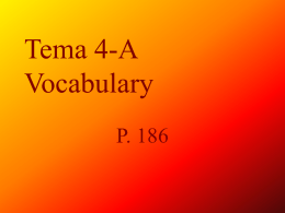 Tema 4-A Vocabulary