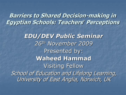 Barriers to Shared Decision-making in Egyptian Schools