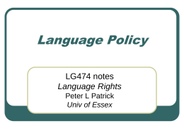 Language Policy - University of Essex